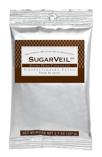 Picture of SugarVeil Extra Dark Chocolate Confectionery Icing 3.7 oz. pouch